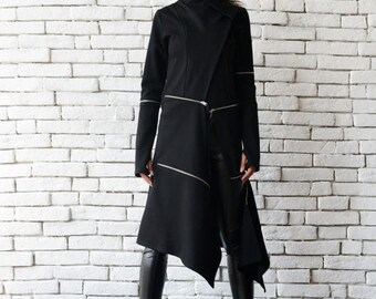 ON SALE Extravagant Long Coat/Casual Zipper Jacket/Long Asymmetric Trench Coat/Oversize Black Tunic/Modern Black Cardigan/Loose Black Coat