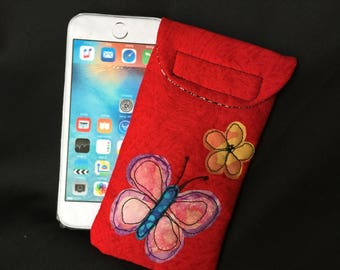 iPhone 6/7 case, Quilted case, medium size Smart phone case, Gadget case. medium phone pouch, iPhone 6/7 bag,eyeglass, cell phone case 6#23