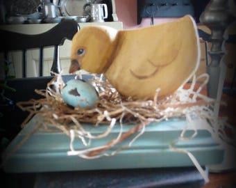 Hand carved folk art baby chick