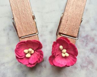 Decorative Clothespins, Decorative Magnet, Bag Clip, Fridge Magnet, Office Decor, Kitchen Decor, Office Organization, Rose Gold Organizer