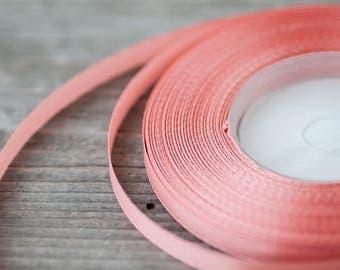 Thin Ribbon 6mm Decorative Ribbon Salmon Pink Satin Ribbon Craft Supply Craft Ribbon Wedding Ribbon Wedding Supply Ribbons Wreath Making