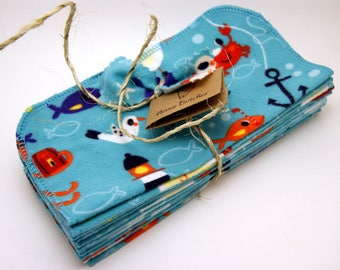 Cloth Baby Wipes-Set of 12 Flannel Wipes- Pirate/Sealife/Nautical/Ocean/Aqua