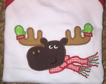 Christmas Moose Embroidered Applique 3/4 Sleeve Shirt