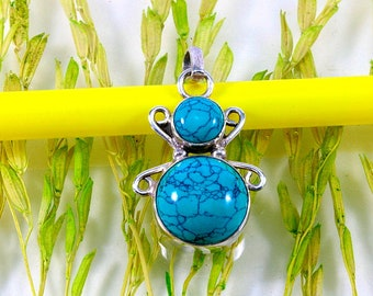 Turquoise and 925 sterling silver, pendant-Turquoise and silver, pendant, 4659