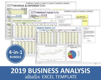 Business Analysis Bundle - 2019 | Excel Templates | Revenue Expenses Profit Sales Customer Data Traffic Reporting | Instant Digital Download