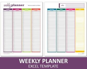 Basic Weekly Planner   Printable Excel Planner Template   Weekly Schedule   Printable Excel Template   Instant Digital Download