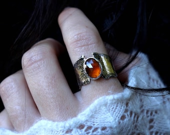 Us size 9- Relic Ring-Sterling Silver- Gold-Garnet