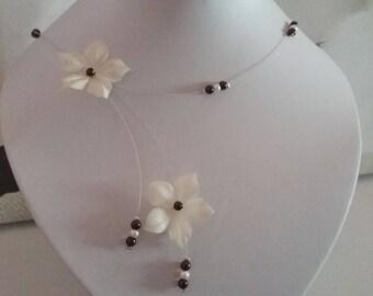 Brown ivory silk Wedding Flower necklace