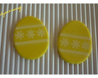 Easter eggs, yellow foam flower motifs and bands, sold in packs of 2.