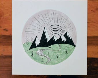 Mountain Ink and Marker Drawing