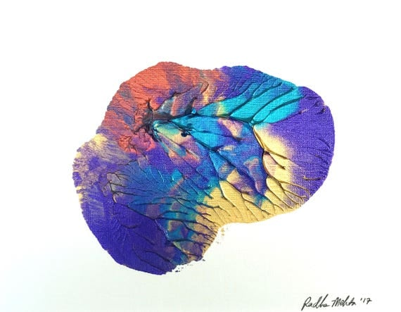 Peacock Wings (acrylic original on canva board with frame mat / metallic purple, teal, gold, copper)
