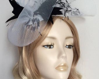 BLACK and WHITE FASCINATOR, Made of crin, feathers, all mounted on a matching headband