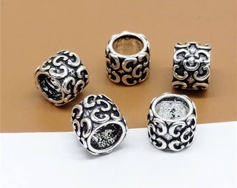 5 Sterling Silver C Beads, Sterling C Beads, 925 Silver C Beads, Large Hole Spacer Beads, C Spacer Beads, 5mm Hole Tube Beads - TZ500