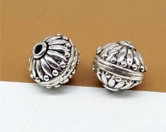 2 Sterling Silver UFO Beads, Sacuer Beads, 925 Silver UFO Beads, Bracelet Beads - TF1099