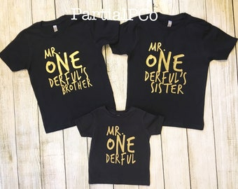 Mr. ONEderful's Brother   Mr. ONEderful's Sister   Team ONEderful   one-der-ful   black and gold   one derful