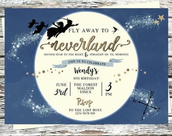 Personalised Neverland Invitation, Second Star to the Right and Straight on til Morning, Peter Pan, Gold, Pixie Dust, Never Grow Up, Moon