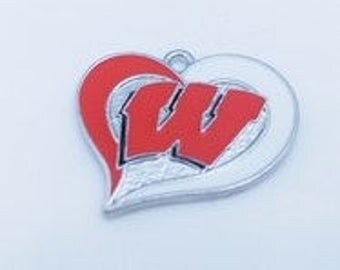 Wisconsin Badgers Heart Charms