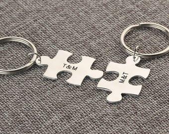 Personalized Keychain Set - Puzzle Piece Keychain - Initials Name Keychain - Custom Text Key ring - Anniversary, Birthday gift - Set of 2