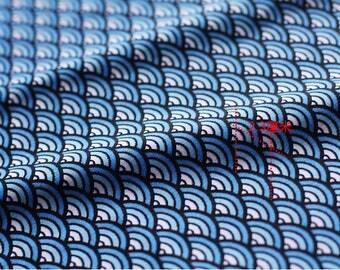 Japanese cotton fabric stripe wave clothing blue white 3 m