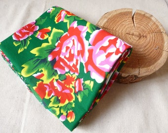fabric Peony Chinese traditional cotton Green 5 m