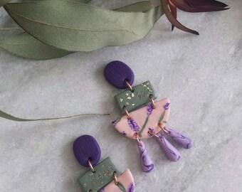 Polymer Clay Earrings, Hand-painted Earrings, Dangle Earrings, Clay Earrings,  Statement earrings, Floral design, Lavender