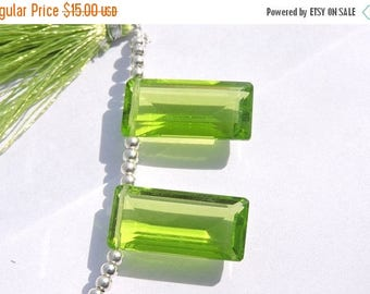summer sale Matched Pair AAA Peridot Green Quartz Side Drilled Baguettes Size 25*12 MM