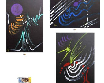 """3 cards of original watercolor Art painted hand - symbolic and abstract""""""""Balance, freedom, Horizon""""on black Bristol paper"""