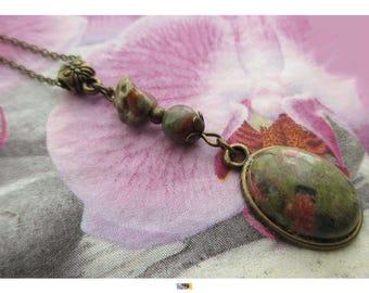 "Chain vintage retro ""Softness"" - ""Unakite stone"" cabochon pendant on antiqued bronze"