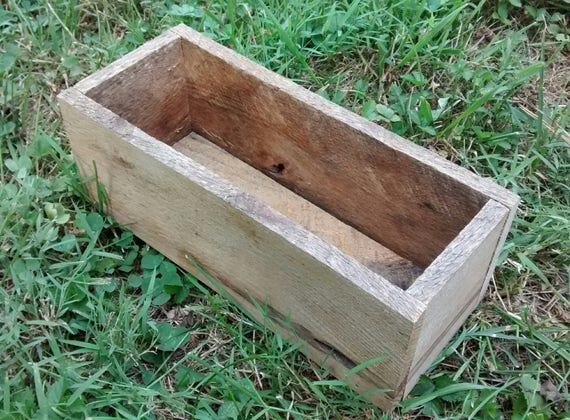 "Rustic Wood Crate Box, 10""x4"", Reclaimed rustic wood decor, Garden Box, Storage, Wooden Box, Herb Box, Succulent"