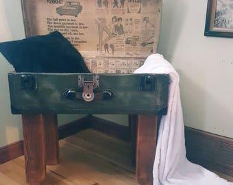 Vintage repurposed trunk - handmade  side table - barn beam legs - decoupage art old magazines