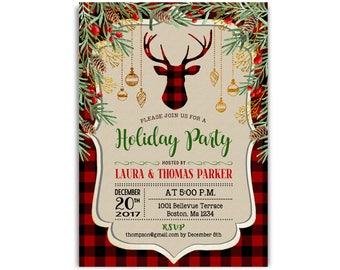 Christmas Party Invitation. Rustic Reindeer Antlers Deer. Buffalo Plaid Red Flannel. Holiday Party Xmas Dinner. Digital Printable Invite