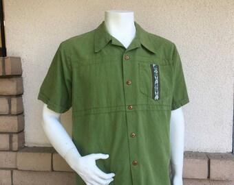 Vintage Mens Boho Shirt Green Cotton Ethnic Shirt Tribal Shirt Mexican Shirt M-L