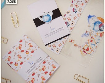 KIT Notebooks, Notepads and Stickers - Alice in Wonderland - Hand Made with Watercolor Drawings