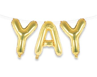 "YAY 16"" Gold Foil Letter Balloon Banner Kit"