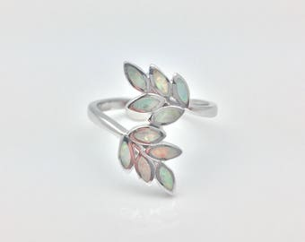 Opal Leaf Ring // Rhodium Plated 925 Sterling Silver // Opal Silver Ring // October Birthstone