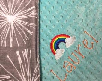 Mint Gray Rainbow Blanket Gray Baby Blanket Mint Grey Adult Minky Blanket Gray White Decor Fireworks Blanket