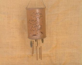 Metal Wind Chime with Candle Holder -  Bat Motif
