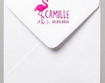 "Stamp pad ""Flamingo"" Customize birthstone"