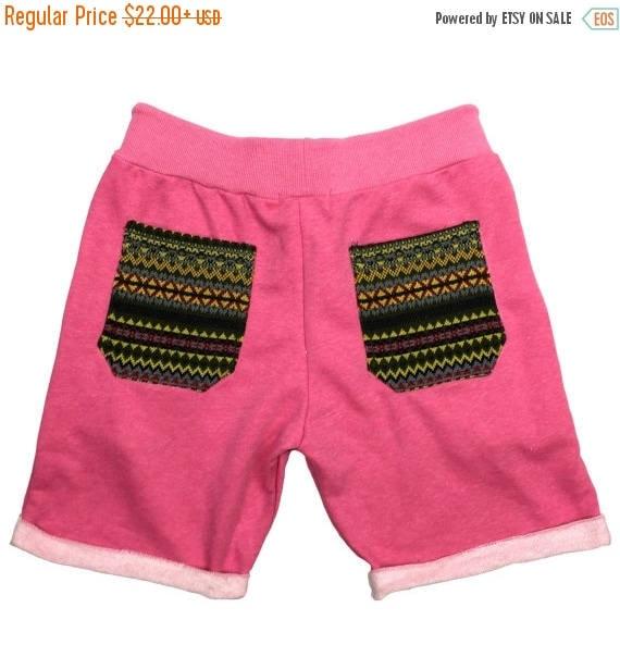 Unisex Comfy shorts - Pink color, Tribal pocket Shorts, Hipster shorts, Casual Summer shorts, Festival Clothing