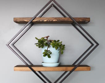 Modern Style Diamond Shelves, Steel and Wood, Handmade in Michigan