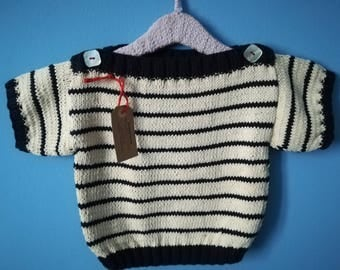 Knit in pure cotton for children 24 months sailor style