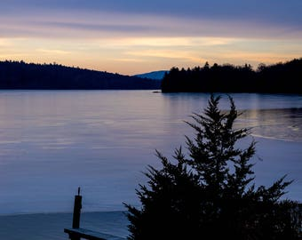 Winter Glow Portrait~Lake Winnipesaukee, New Hampshire, Mountain, Ice, Art, Artwork, Photograph, Joules, New England, Sunrise, Winter Scenes