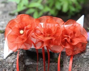 Orange Ribbon flower hair clip
