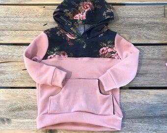Pink and floral hoodie