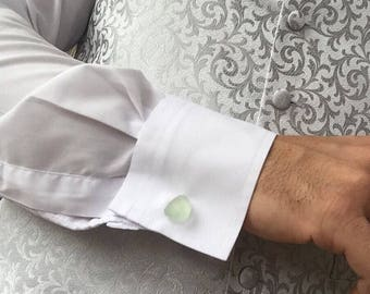 Sea Glass cufflinks made with clear, scottish sea glass - Perfect gift for someone who loves the ocean!