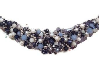 Blue Beaded Choker - Blue Beaded Choker Necklace - Blue Beaded Necklace - Blue Choker Necklace - Blue Bib Necklace - Beaded Bib Necklace