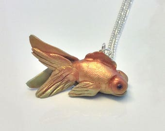 Polymer Clay Handmade Gold Copper Multi Toned Goldfush Necklace. Fish Necklace. Gift