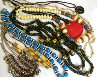 Vintage beaded necklaces, 8 piece vintage lot, vintage necklaces, vintage jewelry lot, tribal necklace, shell necklace