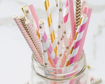 Pink White and Gold Party Straws - Paper Party Straws - Cake Pop Sticks - Bridal Shower - Girl's Birthday - Pink and Gold Party Decor