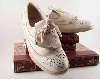 Vintage white leather oxford shoes mens Bally Golf - Old flat brogue shoe wintip retro wedding swiss 90s size 9 10 9.5